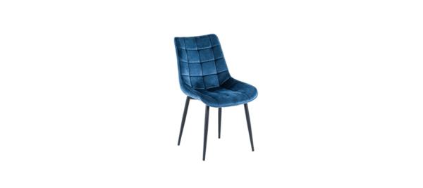 Blue velvet fabric chair.