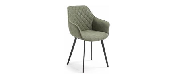 Green armchair in velvet fabric for your living room.