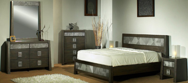 Black bedroom set with wooden with marble effect.