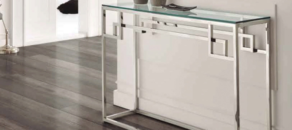 Dupen silver glass console.