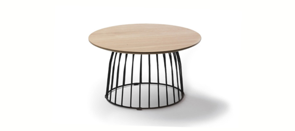 Round black wooden coffee table.