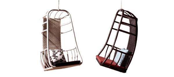 Swing chairs in two different colours for outdoor use.