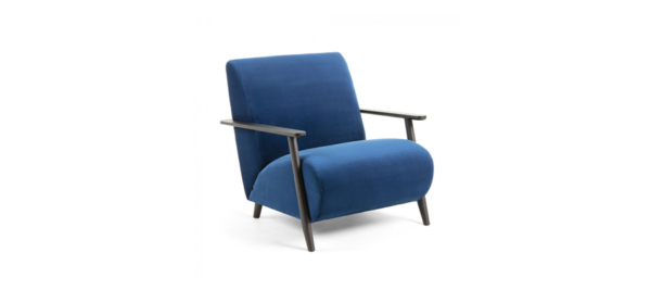 Blue velvet armchair with black legs and arms.