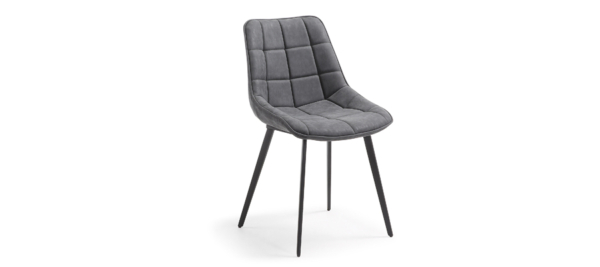 Grey chair with black legs.