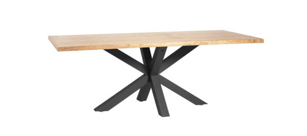 Aiona dining wooden table with black legs.