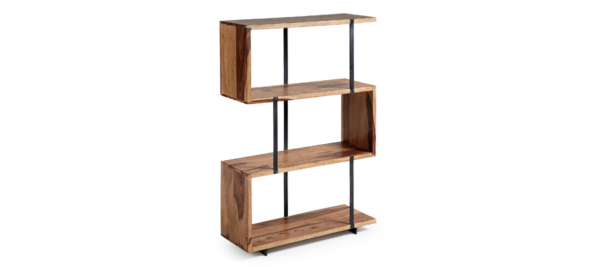 Wooden bookshelves with black poles and 3 levels for storage.