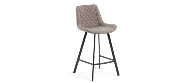 Barstool upholstered in synthetic leather. Powder coated steel legs.