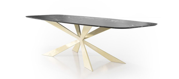 Franco dining table with black marble top and modern design for your living room.