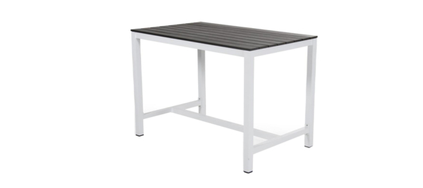 White bar table for outdoors.