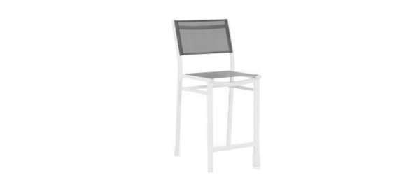 White bar stool for outdoors.