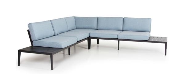 Outdoor corner sofa in blue colour.