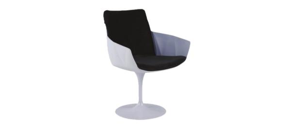 White chair with black cushions.