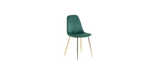 Green velvet chair with golden legs.