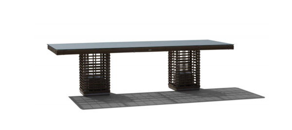 Black outdoor rattan table.