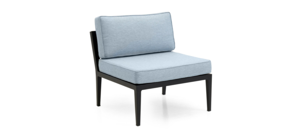 Blue armchair with black legs for outdoor use.