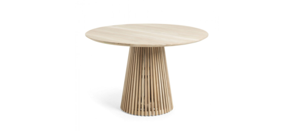 Wooden table for outdoor use.