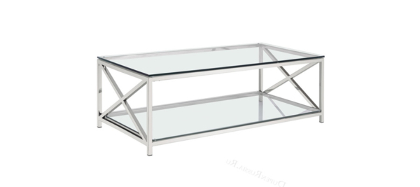 Dupen silver glass coffee table.
