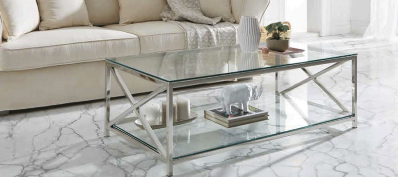 Coffee table made by silver mirror and glass for your living room.