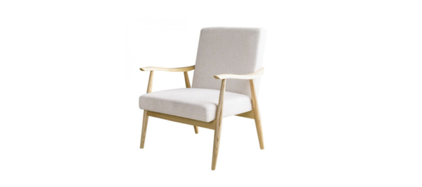 Dupen wooden and white armchair.