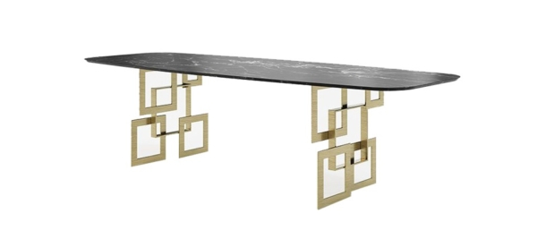 Franco black marble top and special design gold legs for your dining room.