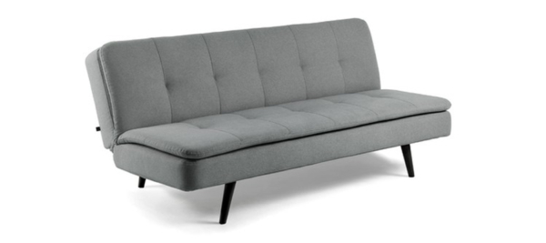 Grey sofa bed with black legs.