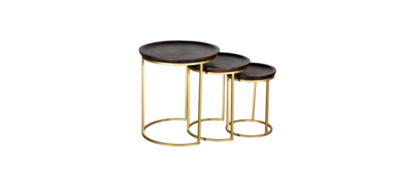 Set of 3 wooden side tables.