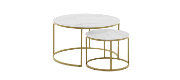 Leonor set of two side coffee tables in white marble effect and golden legs in round shape.