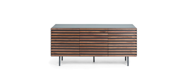 Wooden console with black details and legs for your living room.
