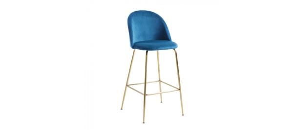 Blue velvet stool with golden legs.
