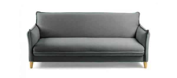 Dark grey sofa bed with black legs.