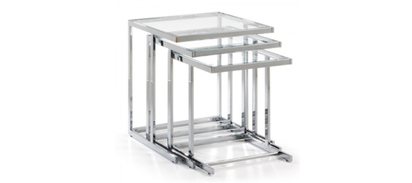 Set of 3 silver side tables with glass top.