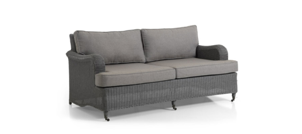 Grey three seater sofa for outdoor use.