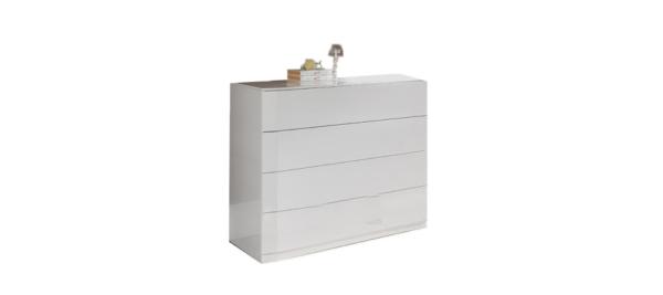 Dupen white wardrobe with four shelves.