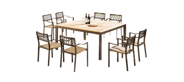 Brown Yunge table with chairs.