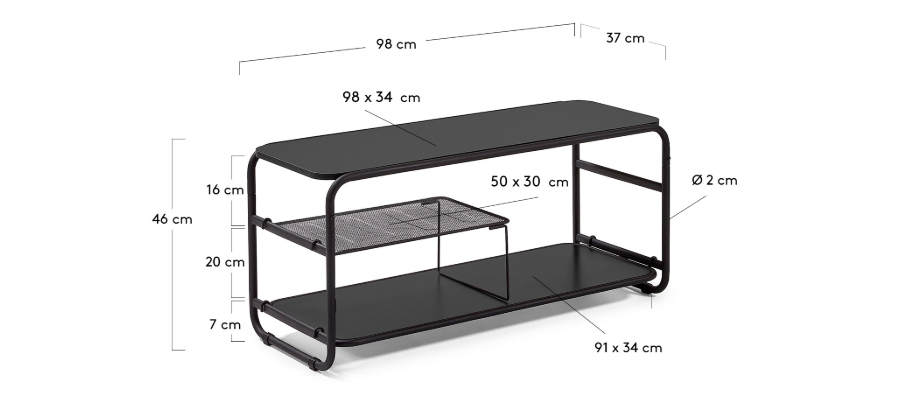 Tv stand's detailed dimensions.