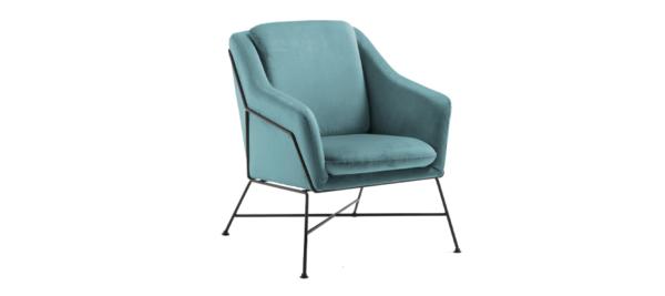 Green Velvet armchair.