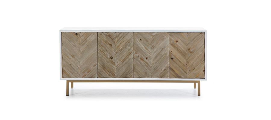 Wooden and white tv stand console.