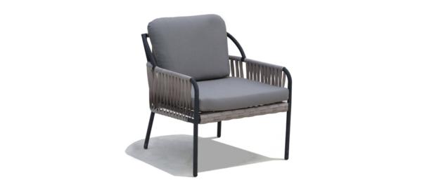 Chatman grey armchair with black legs.