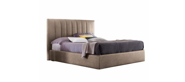 Fabric double bed with upholstered headboard.