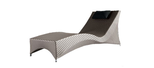 Sunbed grey rattan outdoor.