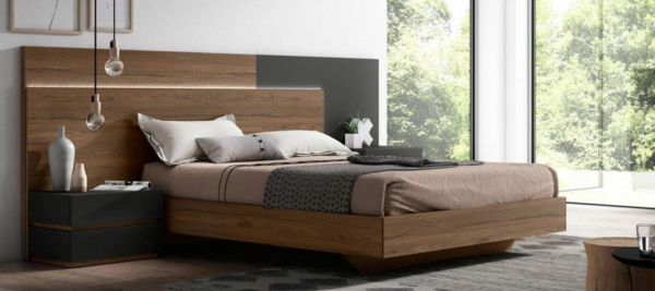 Wooden headboard modern design bed in brown and grey colour.