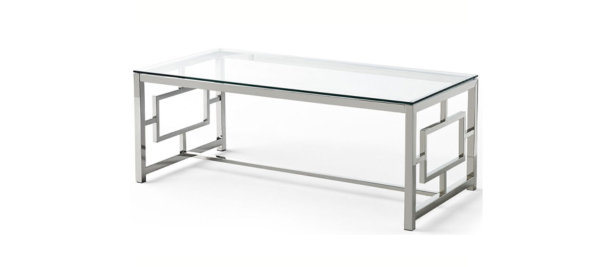 Silver glass dupen coffee table.