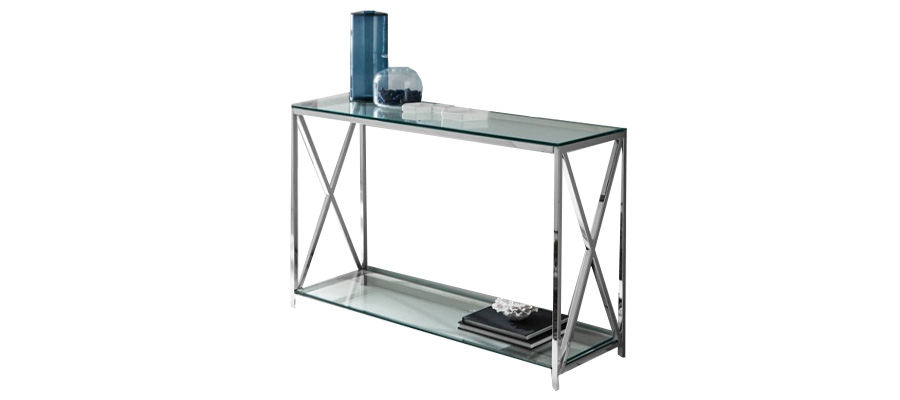console table silver glass dupen.