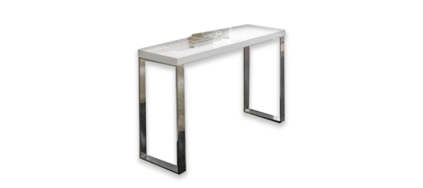 Silver console with glass top.