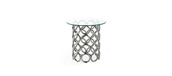Dupen silver round side coffee table made in Spain.
