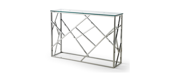 Silver glass dupen console for your living room.