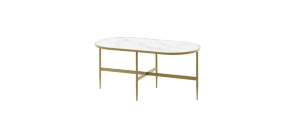 Side coffee table cold legs white marble top.