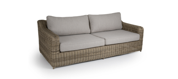 Rattan brown 3 seater sofa for outdoor.