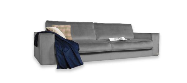 Grey fabric sofa.