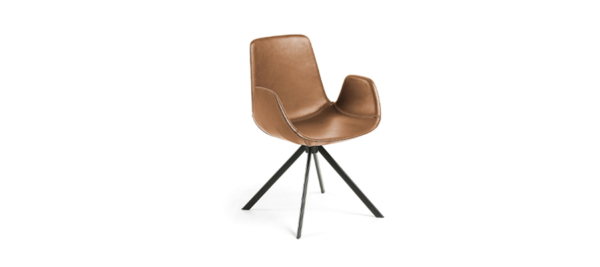Kave home brown armchair black legs.